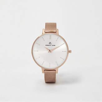 River Island Rose gold plated Abbott Lyon slim mesh watch
