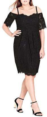 City Chic Amour Cold Shoulder Lace Sheath Dress