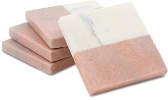 Thirstystone Closeout! 4-Pc. White & Pink Marble Coaster Set