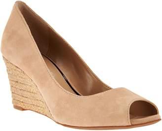 Judith Ripka Nubuck Leather Peep Toe Wedges - Chloe