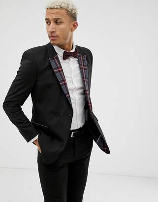 Asos DESIGN skinny double breasted blazer in black with checked lapel