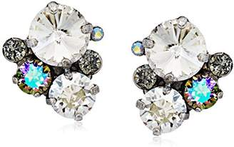 Sorrelli Core Antique Silver Tone Crystal Rock Assorted Rounds Post Earrings