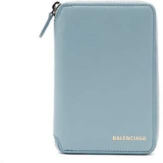 Balenciaga Ville Logo Leather Wallet - Womens - Light Blue
