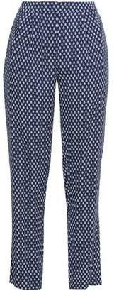 Diane von Furstenberg Printed Stretch-Silk Tapered Pants