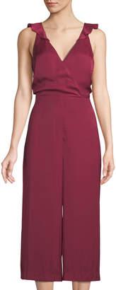 Parker Wrap-Front Open-Back Culotte Jumpsuit