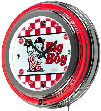 "Bobs Big Boy ""Bob's Big Boy"" Checkered Chrome Finish Neon Wall Clock"