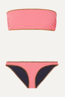 Tooshie Hampton Reversible Lurex-trimmed Bandeau Bikini - Pink