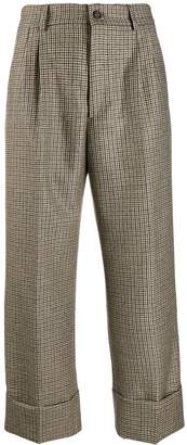 Berwich checked wide-leg trousers