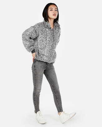 Express One Eleven Oversized Sherpa Fleece Sweatshirt