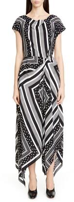Co Cowl Neck Print Handkerchief Hem Silk Dress