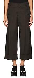 Yohji Yamamoto Regulation Women's Button-Detailed Cotton Canvas Ankle Pants - Khaki