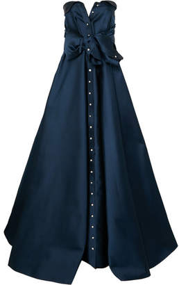 Alexis Mabille Tie-detailed Faille Gown - Midnight blue