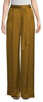 Josie Natori Satin Belted Wide Leg Pants