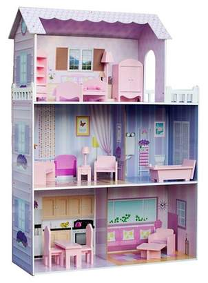 Teamson Kids Fancy Mansion Doll House With 13pcs Furniture
