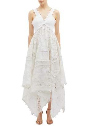 Zimmermann 'Corsage' guipure lace panel dot embroidered handkerchief midi dress
