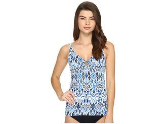 Tommy Bahama Ikat Over the Shoulder Tankini Top with Ring Women's Swimwear