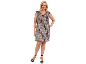 Calvin Klein Plus Plus Size Short Sleeve Dress w/ PU Shoulder Women's Dress
