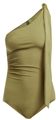 Lisa Marie Fernandez Arden One Shoulder Swimsuit - Womens - Light Green
