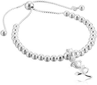 Disney Sterling Beauty and the Beast Rose Beaded Lariat Charm Bracelet