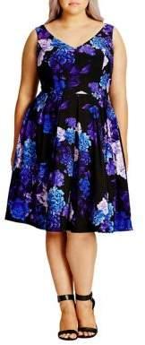 City Chic Plus Floral Print Dress