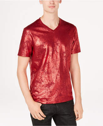 INC International Concepts I.n.c. Men's Metallic Foil Print V-Neck T-Shirt