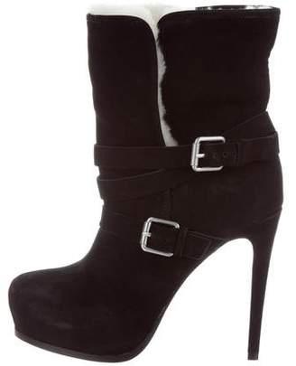 Pour La Victoire Suede Shearling-Lined Ankle Boots