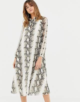 Asos DESIGN pleated trapeze midi dress in snake print with tie neck