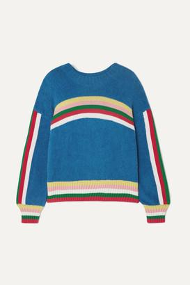 Mira Mikati Striped Cotton-blend Terry Sweater - Blue