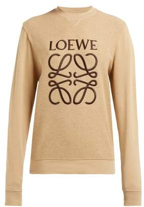 Loewe Anagram Embroidered Cotton Terry Sweatshirt - Womens - Beige Print