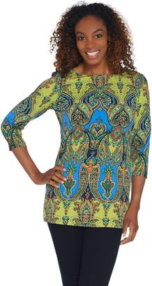 Susan Graver Printed Liquid Knit Tunic with Sparkle Detail