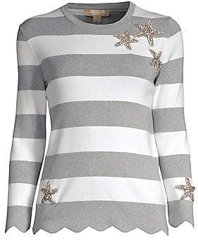 0bb24149a1d7 Michael Kors Women s Striped Embellished Cotton Sweater