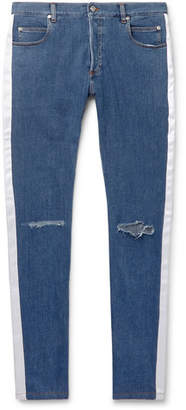 Balmain Skinny-Fit Satin-Trimmed Distressed Denim Jeans - Men - Blue