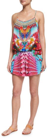 Camilla Camilla Printed Beaded Short Romper Coverup
