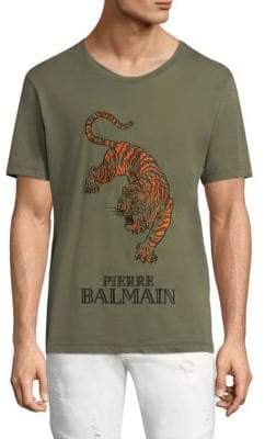Pierre Balmain Embroidered Tiger Cotton Tee
