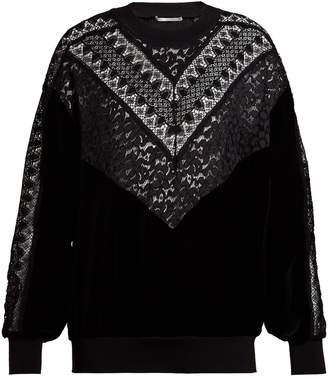 Stella McCartney Velvet and lace sweatshirt