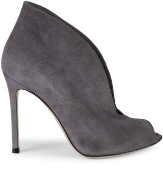 Gianvito Rossi Suede Peep-Toe Stiletto Booties/4""