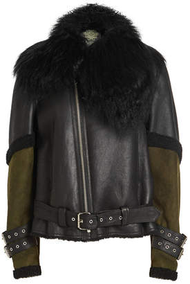 Mr & Mrs Italy Leather, Suede and Shearling Biker Jacket