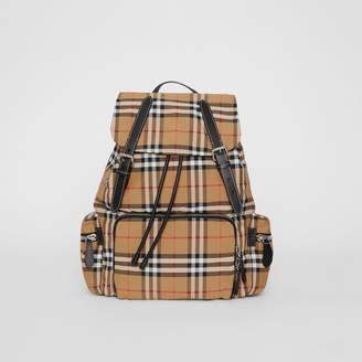 Burberry The Large Rucksack in Vintage Check Nylon, Yellow