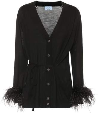 Prada Feather-trimmed wool cardigan