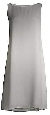 Eileen Fisher Women's Watercolor Silk Sheer Bateau Neck Dress