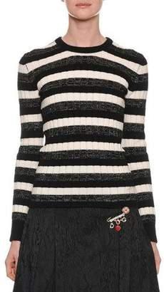 Dolce & Gabbana Long-Sleeve Crewneck Striped Ribbed Wool Sweater