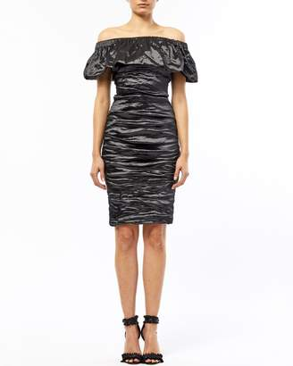 Nicole Miller Techno Metal Off Shoulder Ruched Dress