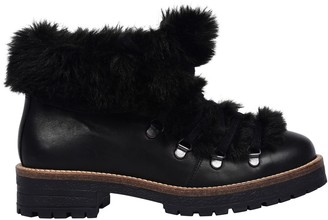 Pataugas Task Fur-Lined Leather Ankle Boots