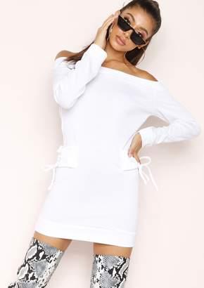 1eac229f7d3 Missy Empire Missyempire Ayla White Bardot Lace Up Detail Dress