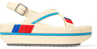 Prada Striped Rubber Platform Sandals - Neutral