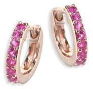 Astley Clarke Mini Halo Pink Sapphire& 14K Rose Gold Hoop Earrings