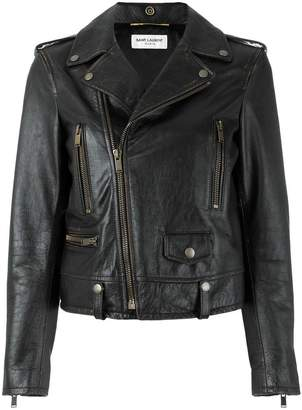 Saint Laurent lightning bolt biker jacket