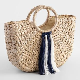 Navy Blue and White Tassel Tote Bag $39.99 thestylecure.com