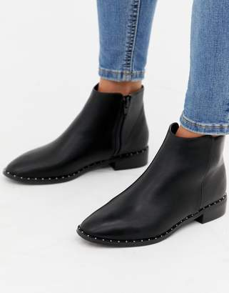 Oasis flat boots with stud detail in black