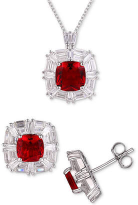 Tiara 3-Pc. Set Cubic Zirconia Pendant Necklace & Matching Stud Earrings in Sterling Silver